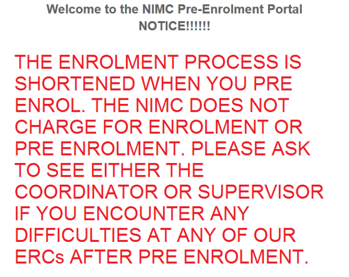Nigerian National ID card pre-enrollment portal notice