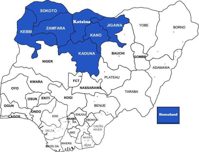 Map of Nigeria indicating the hausa states (hausaland).