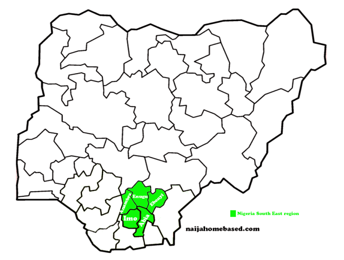 map of nigeria indicating states in south east