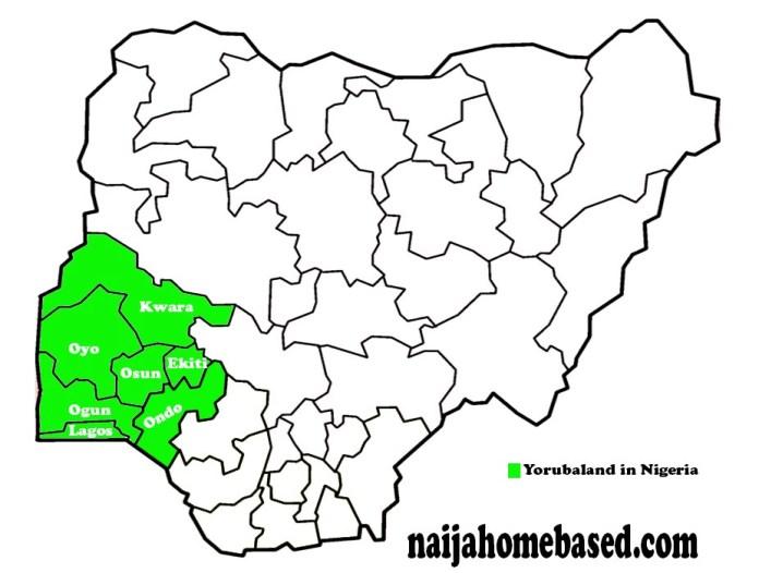 map of Nigeria indicating yoruba states in Nigeria