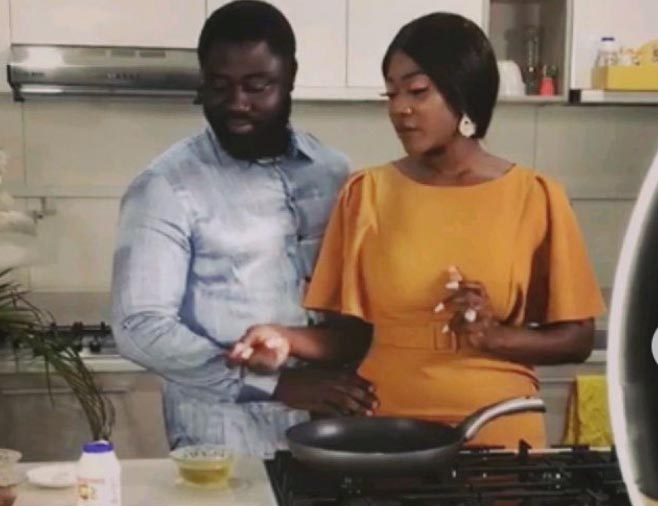 Mercy Johnson and her husband, Prince Odianosen Okojie, spending time together in the kitchen