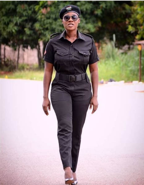 Mercy Johnson in a movie in which she starred as a police officer