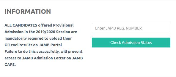Screenshot of the portal for checking FUNAI admission status (list)