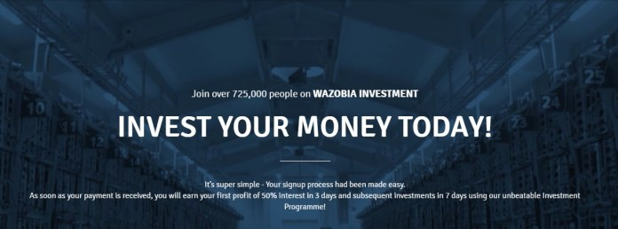Homepage of the official website of wazobiaway.cash.