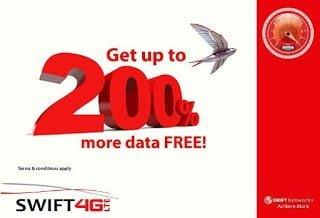 Now You Enjoy upto 200% Extra Data on SWIFT 4G LTE