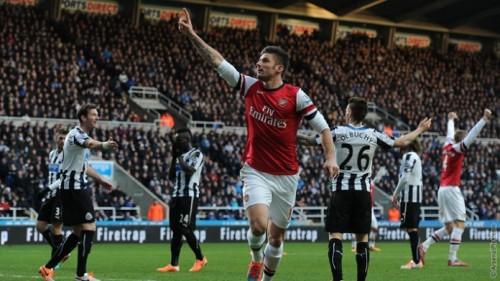 gun  1388392521 giroud newcastle3 500x281 [Video] Arsenal 3   0 Newcastle United [Premier League] Highlights