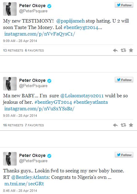 psquare bentley tweet Peter Okoye Acquires ₦30million Brand New 2014 Bentley GT Automobile [See Photo]