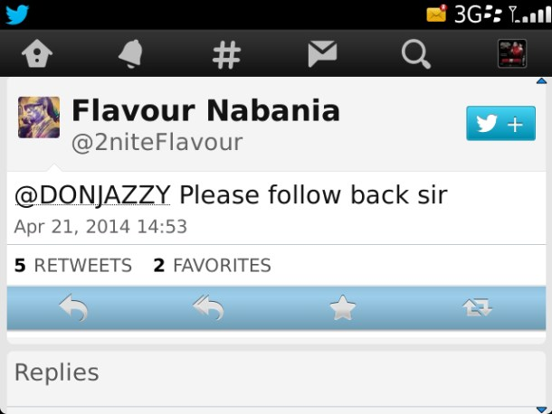 1415800910730 Oga Na Oga!!! Flavour Begs Don Jazzy For A Follow Back On Twitter