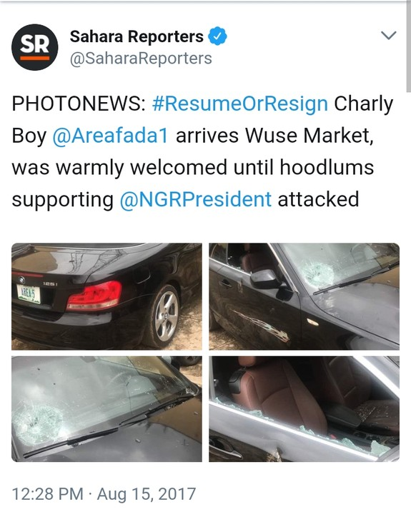 4 28 - Buhari Supporters Attack Charly Boy At Wuse Market, Destroy Cars [Video/Photos]