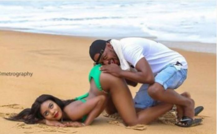 ssss 700x433 - New Style? Internet Boils As Man Is Seen Burying Face In His Fiancee's Bum For Pre-wedding Photo