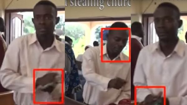 1 180 - Man Caught On Camera Stealing Money From Church's Offering In Ghana (Photos + Video)