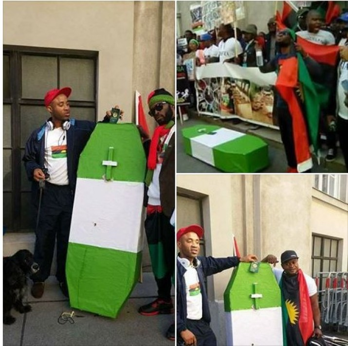 ipbo4 - IPOB Members In Austria Protest With Coffin At British Embassy (Photos)