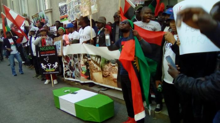 ipob 6 700x394 - IPOB Members In Austria Protest With Coffin At British Embassy (Photos)