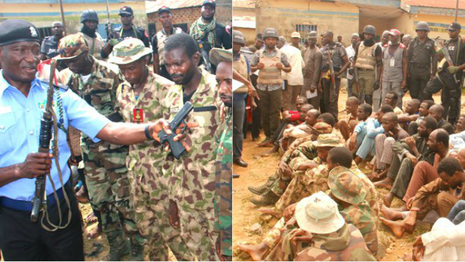 pollice - Police Parade 6 Suspected Fake Soldiers, Kidnappers And Armed Robbers In Abuja (Photos)