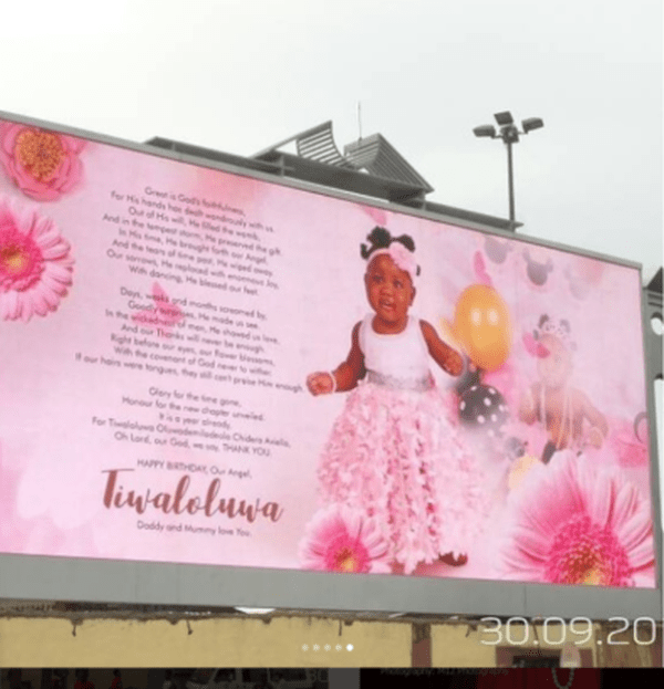 s 2 1 - Wawu!! Comedian Seyilaw Rents Billboard For His Daughter, Tiwa For Her First Birthday (Photos)