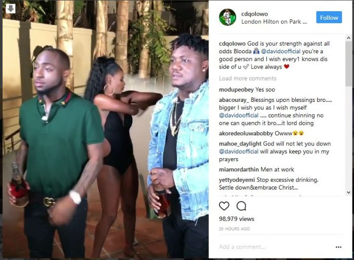 """cdq 700x513 - CDQ Shows Support To Davido Says """"God Is Your Strength Against All Odds"""""""
