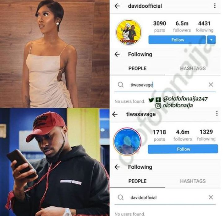 Davido and Tiwa Savage Unfollow