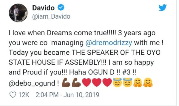 Davido Congratulates Oyo Speaker, Says He Was Managing Dremo With Him 3 Years Ago