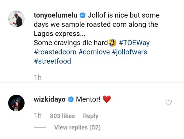 Wizkid Reacts As Billionaire Tony Elumelu Sampling Roasted Corn In Lagos 7