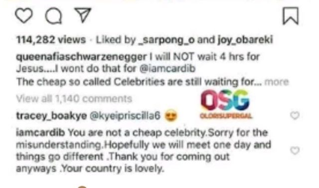 Cardi B Apologizes To Afia Schwarzenegger