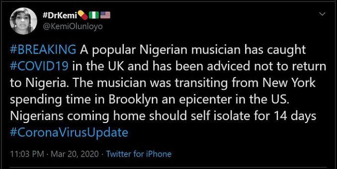 Nigerian Musician Has Tested Positive For COVID-19 In UK – Kemi Olunloyo 1