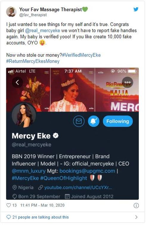 Fans React As Twitter Verifies Mercy Eke's Account