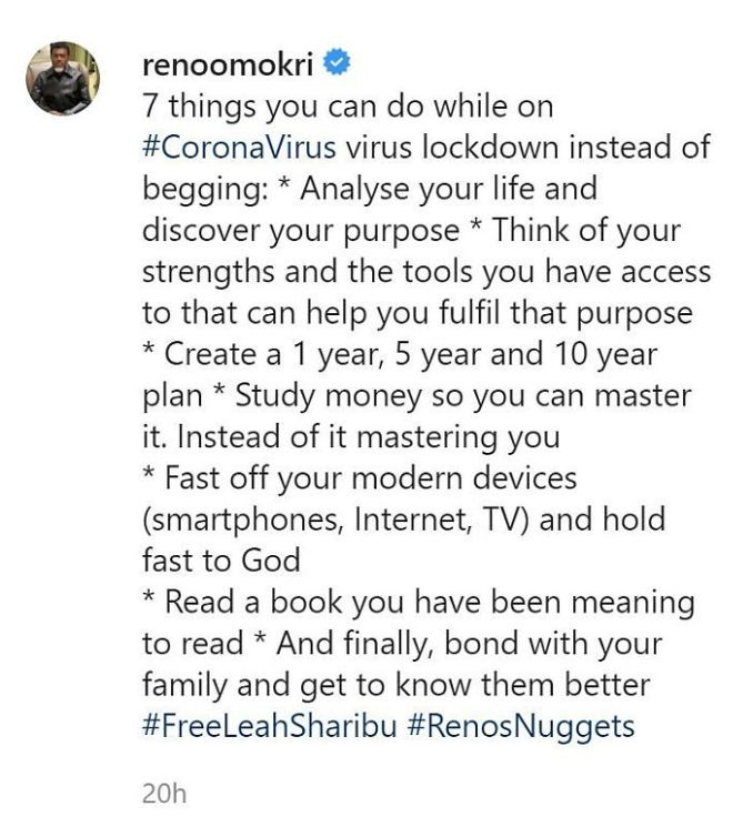 Things You Can Do During Lockdown Instead Of Begging-Reno Omokri 1