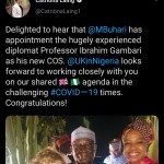 British High Commissioner to Nigeria congratulates Gambari as new Chief of Staff
