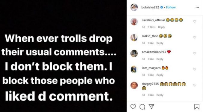 I Block People Who Like Hate Comments About Me – Bobrisky, Peter Okoye Reacts 1