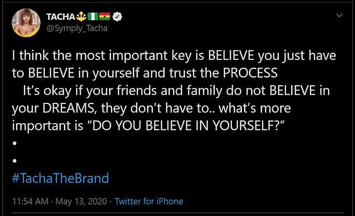 """Believe In Yourself, It's Important"" - Tacha Tells Fans"