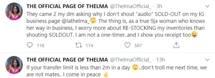 """""""I Don't Shout Audio Sold Out"""" - Thelma Shades Tacha Again"""