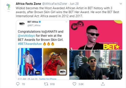 Wizkid Beats Davido, Burna Boy To Having The Highest Number Of BET Awards In Africa 2
