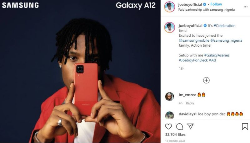 Joeboy Bags Samsung Endorsement Deal