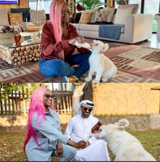 DJ Cuppy Shares Growth Of Her Pet Lion In Dubai (Photo)