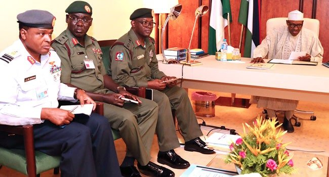 Image result for Buhari cancels FEC meeting, to meet with Service chiefs