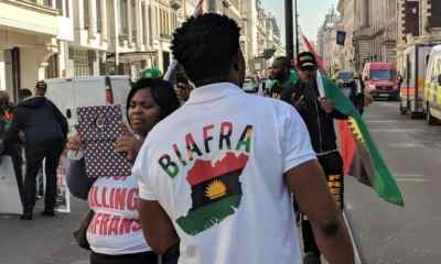 Biafra protesters storm Westminster as Buhari meets the Queen