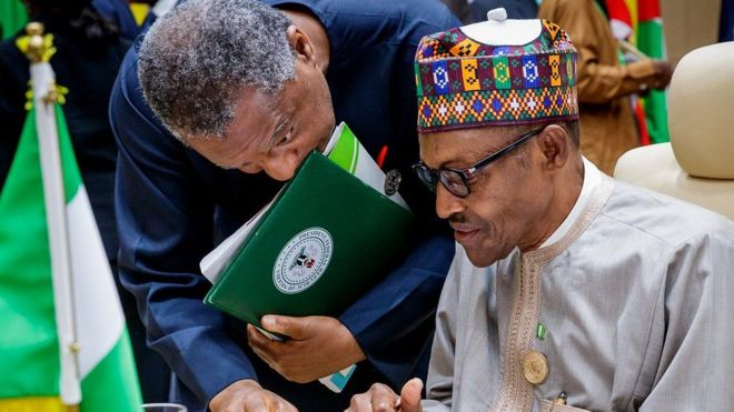 President Buhari and foreign minister Geoffrey Onyeama at the AU Summit in Nouakchott, Mauritania
