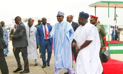 See Epic Photo Of How Ambode's Children Welcomed Buhari In Lagos