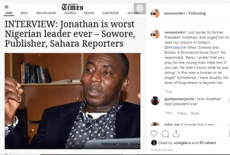 Jonathan Speaks On Sowore's Treason Charge, Tells Omokri What To Do