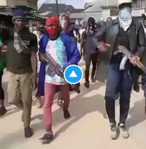 Youths Protesting With Guns In Aba