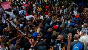 gov abdulrazaq deputy join endsars protesters to police headquarters - #ENDSARS: Police Open Fire On Protesters In Anambra
