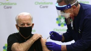 President-elect Joe Biden receives the second dose of a Covid-19 vaccine at Christiana Hospital in Newark, Delaware ALEX WONG GETTY IMAGES NORTH AMERICA/AFP