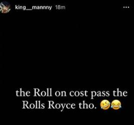 Burna Boy's PA , Manny Reveals The Unknown About His Rolls Royce, Shades Davido Photo