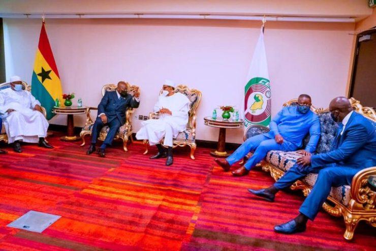 Jonathan, Adesina Join Buhari In Ghana For ECOWAS Summit [Photos]