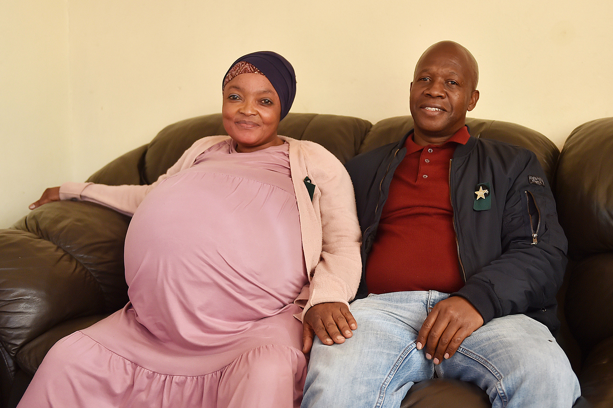 Gosiame Thamara Sithole gave birth by Caesarean section to seven boys and three girls.