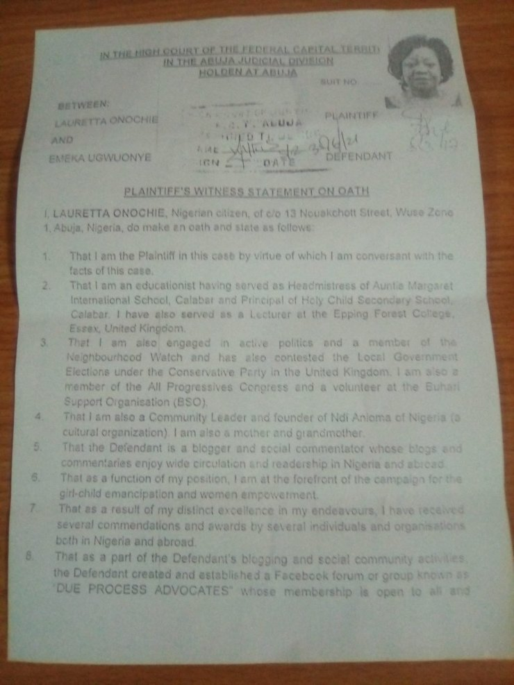 Document Shows Lauretta Onochie Lied At Senate [Photo]