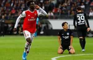 Nigerian winger Saka reacts after scoring 1st Arsenal goal