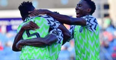Nigerias Defender Kenneth Omeruo Celebrates His Goal With Teammates Picture Id1152069214?k=6&m=1152069214&s=&w=0&h=vQgbXlUsPLP_R_HqZmpKLyDa SnF8u69o8rjnwROPTA=