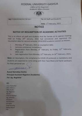 Federal University, Gashua notice on resumption