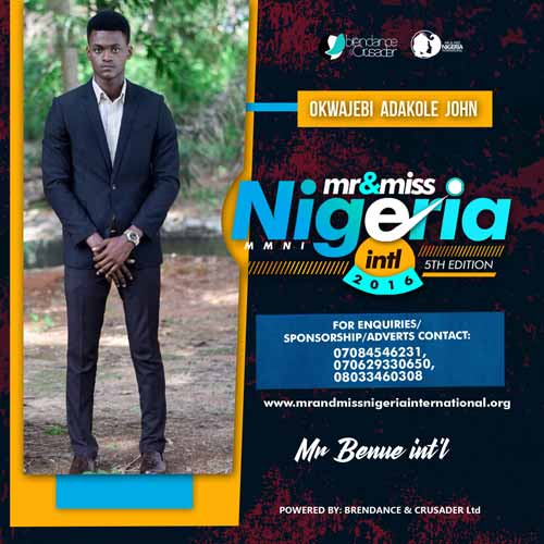 Okwajebi John, Finalists, Mr And Miss Nigeria International Pageant 2016
